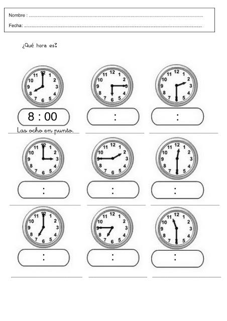 Fichas Con Ejercicios Para Aprender Las Horas Del Reloj