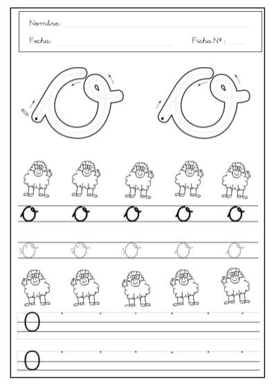 grafomotricidad letra O, letra o, grafo