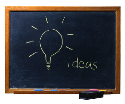 Light Bulb Drawn on Chalkboard