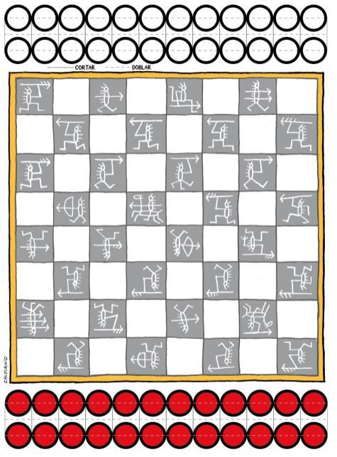Tablero de ajedrez con fichas para jugar a las damas.