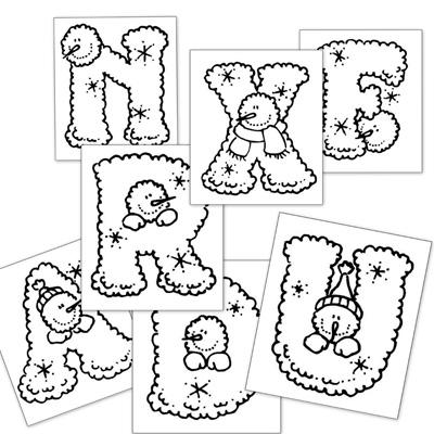 Letras para colorear: Abecedario de Navidad