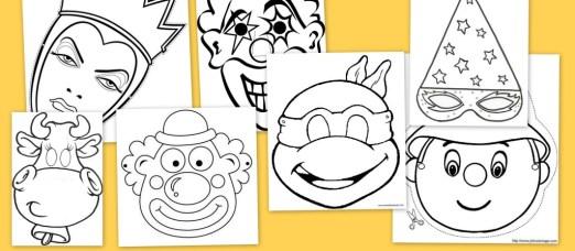 Caretas de carnaval para colorear, carnaval, dibujos para colorear, recursos educativos, caretas, recursos para el aula, fiesta de carnaval