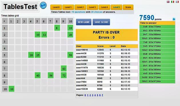 Juego online para aprender las tablas de multiplicar