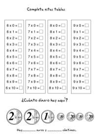 Fichas de matematicas, multiplicacion, tablas de multiplicar, ejercicios primaria