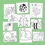 dibujos para colorear mariquitas, caracoles y abejas en primavera