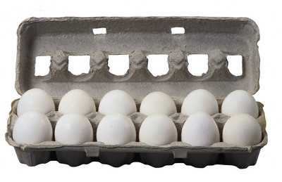 Carton Holding Twelve White Eggs