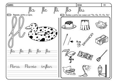 Lectoescritura con la letra F