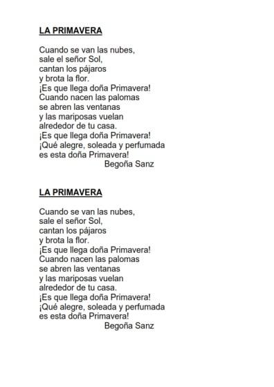 Poesias con pictogramas para leer