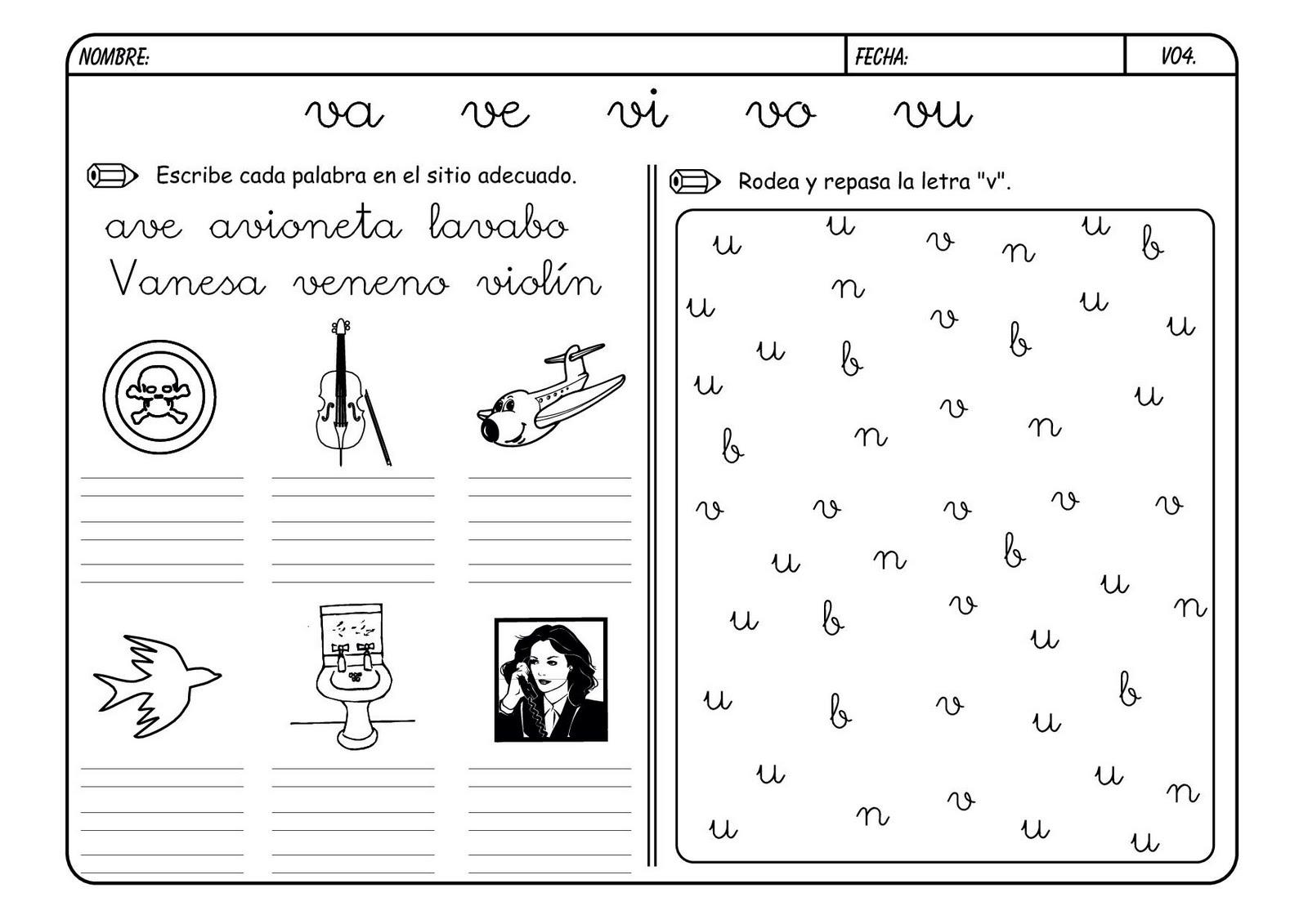 Lectoescritura Y Vocabulario Con La Letra V