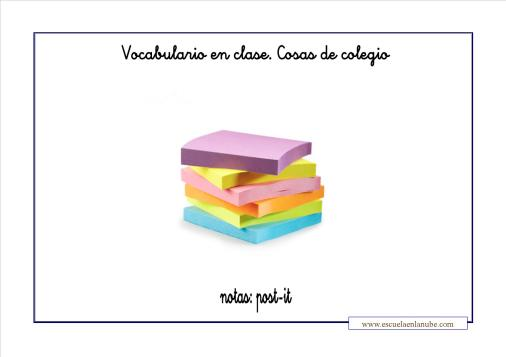 Vocabulario colegio post it