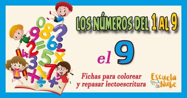 número 9 para colorear, numeros del 1 al 9