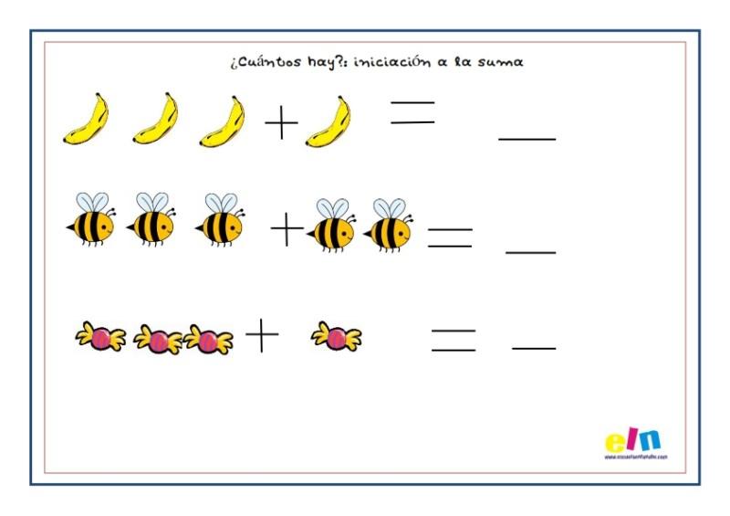 sumas, matemáticas, fichas infantil, aprender a sumar
