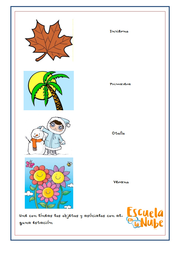 estaciones del año, primavera, verano, otoño, invierno, fichas infantil