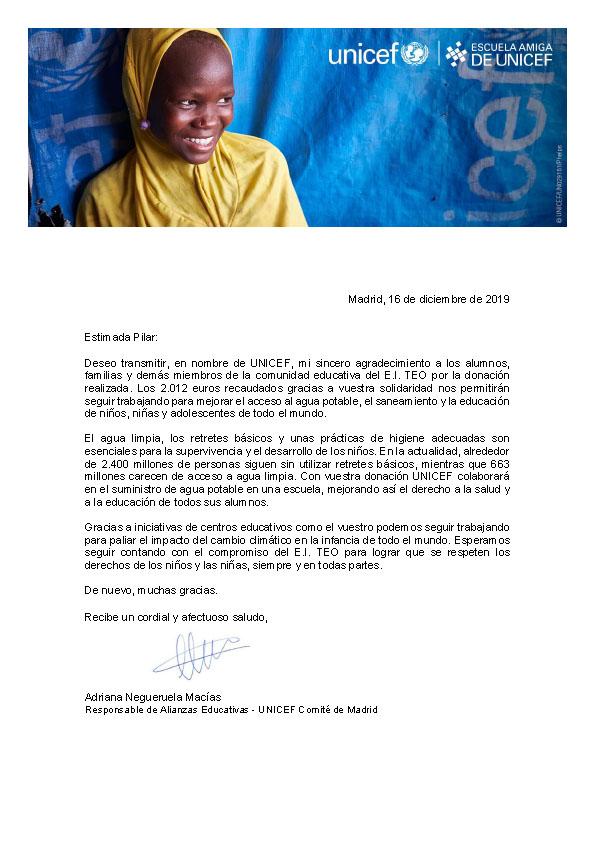UNICEF nos agradece nuestra aportación. Gracias papás y mamás de TEO por participar en nuestra fiesta benéfica