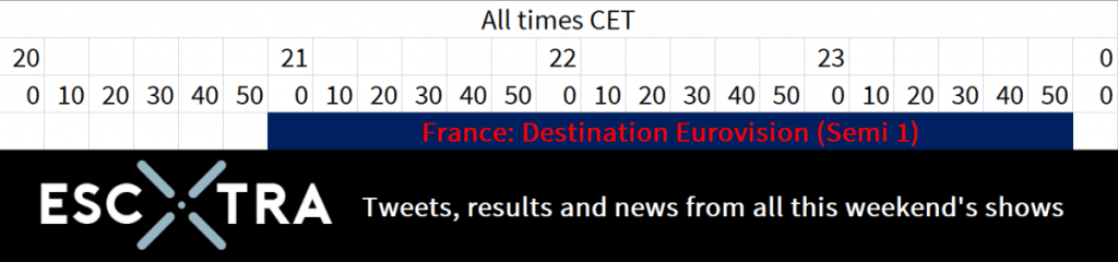 Tonight's schedule : Destination Eurovision from 21:00 to 23:55 CET