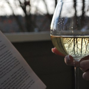 Book and a glass of wine