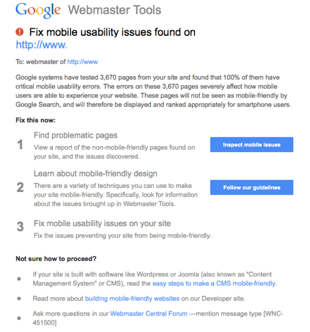 mobile issues google