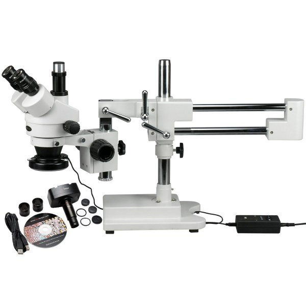 Trinocular stereo microscope including USB camera and LED light