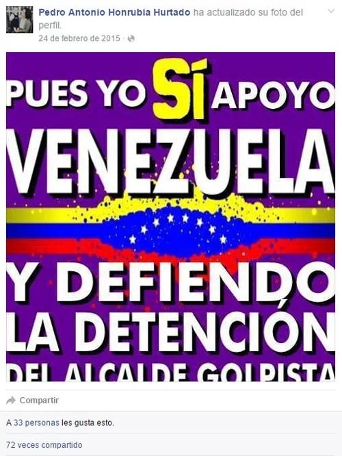 Apoyo del asistente de Podemos, Pedro Antonio Honrubia Huratdo, al régimen de Venezuela. /Facebook