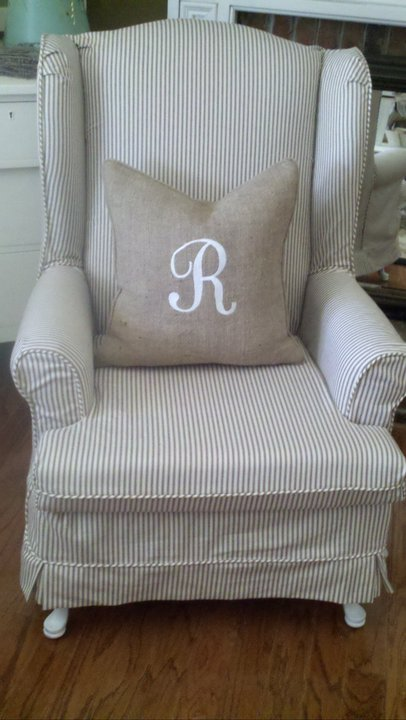 wing chair slipcover pattern square pub table 8 chairs slipcovered in ticking and burlap pillow | esewingworkshop.com