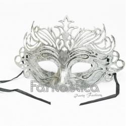Antifaz Máscara Veneciana para Carnaval Color Plateado