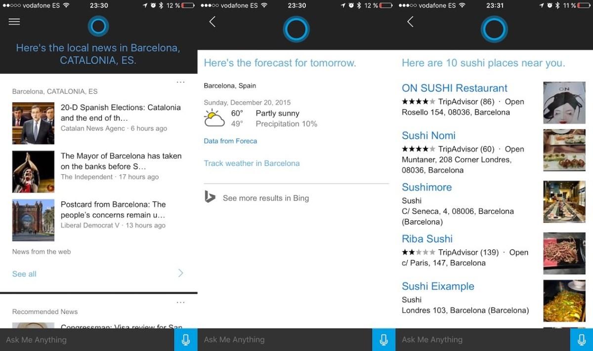 Cortana en iOS
