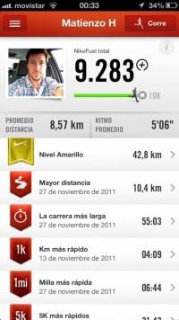 Interfaz Nike+ Running 1