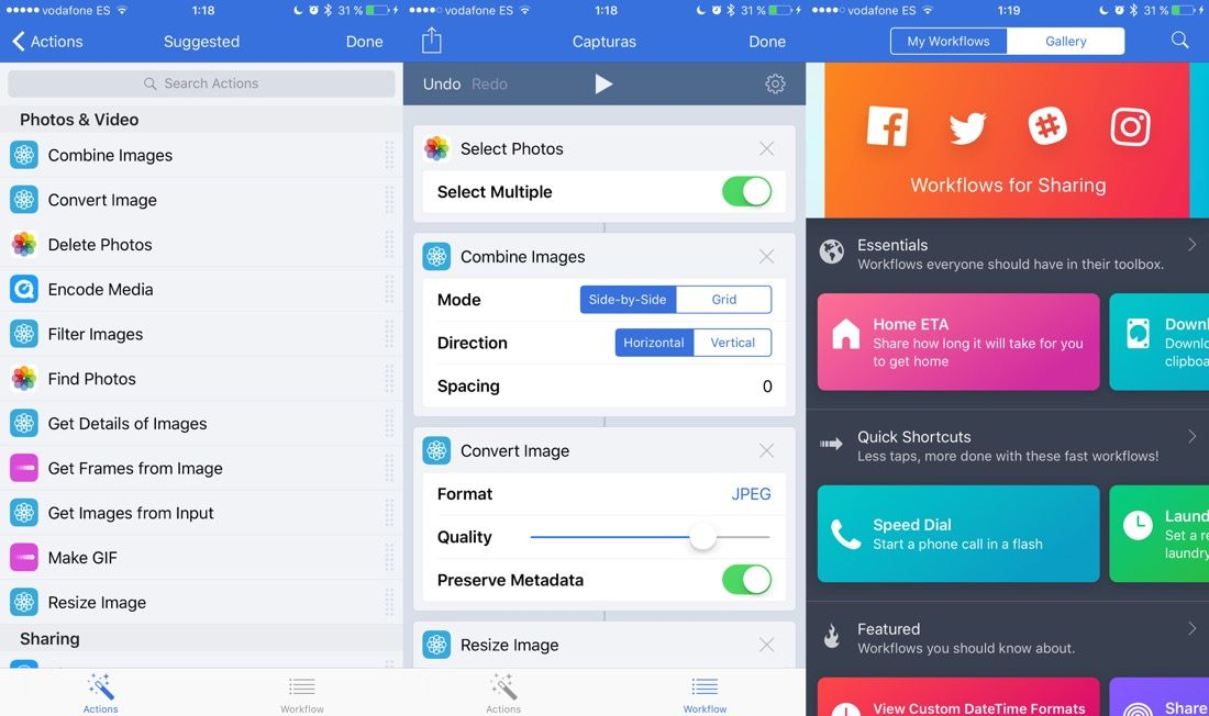 Workflow para iOS - Automatizar tareas en iPhone y iPad