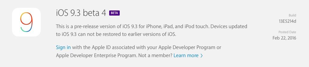 iOS 9.3 Beta 4