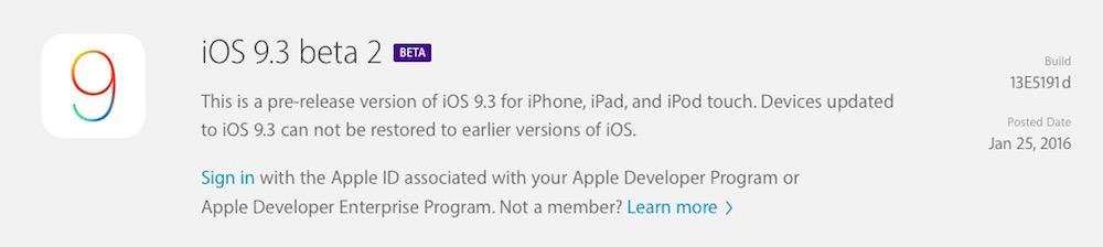 Segunda beta de iOS 9.3