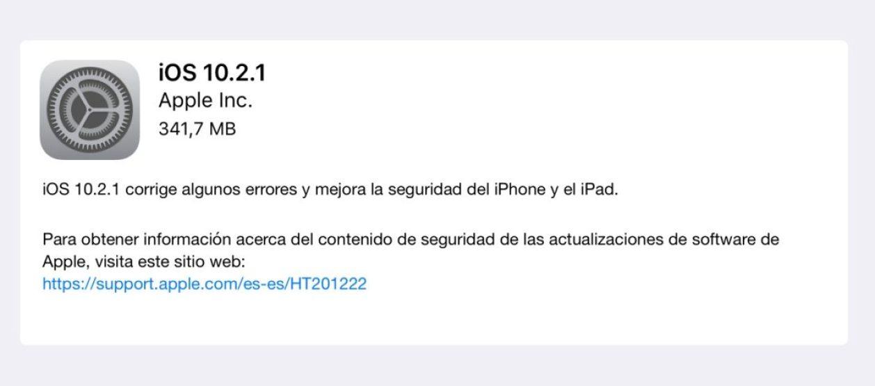 ios 10.2.1 para iPhone, iPad y iPod Touch