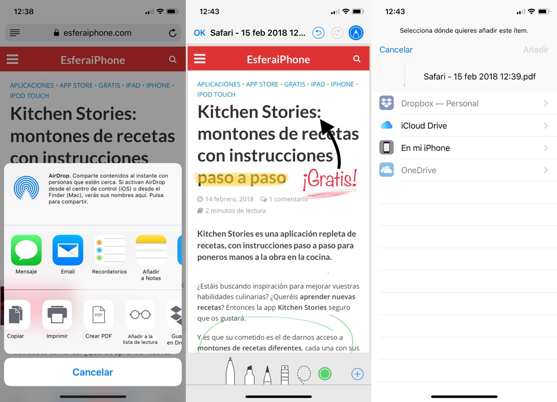 Guardar páginas web en PDF con Safari en iOS 11
