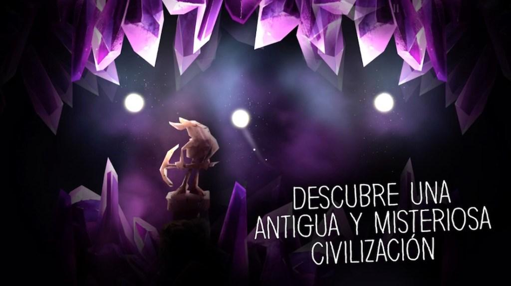 """Imagen del juego con una cueva de tonos morados, una estatua, tres orbes de luz y el texto: """"Descubre una misteriosa civilización"""""""