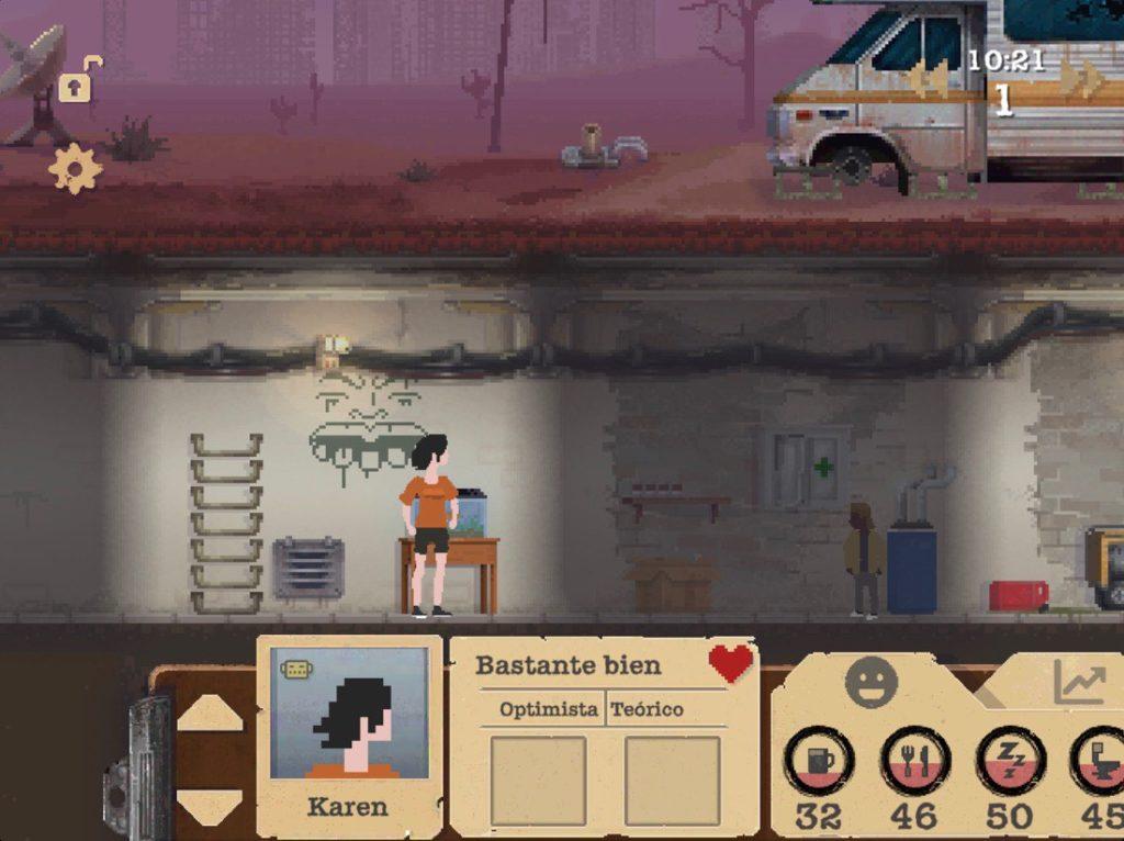 """Captura de pantalla del juego de supervivencia """"Sheltered"""". Escena con dos miembros de la familia en un búnker bajo tierra."""