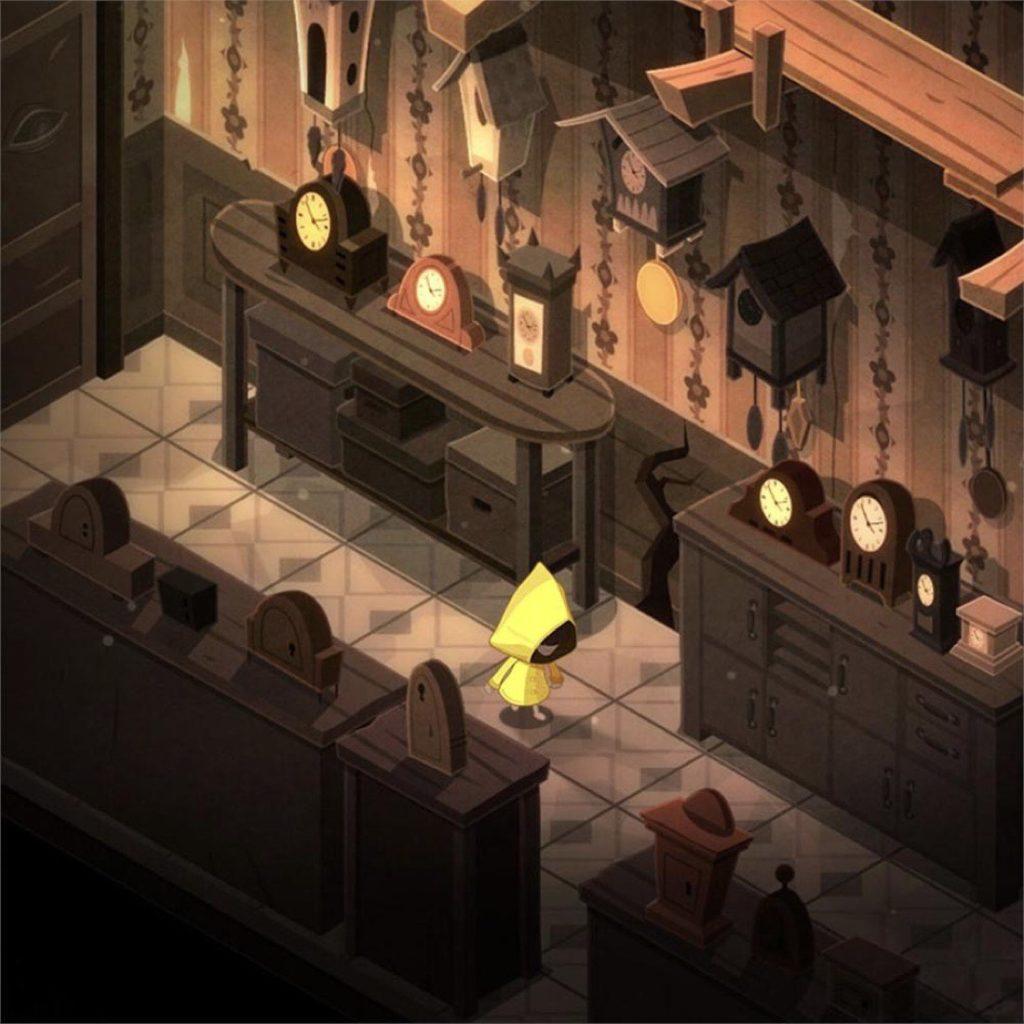 Imagen del juego de puzles Very Little Nightmares. Sala llena de relojes por todas partes con la protagonista, con chubasquero amarillo, en medio.