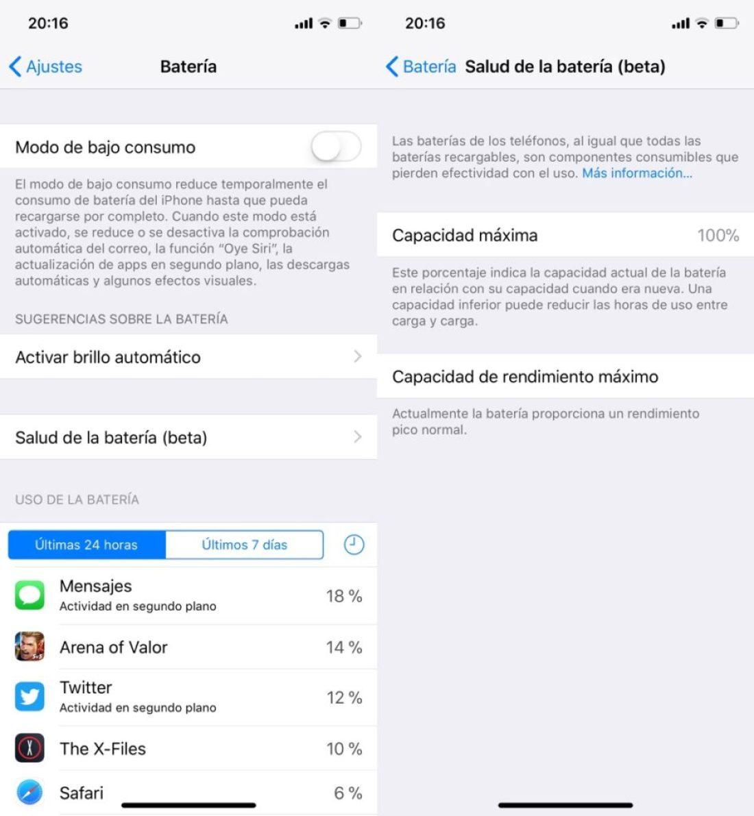 Vida útil batería iOS 11.3