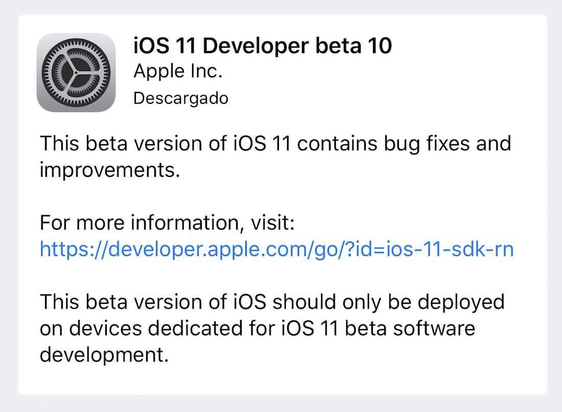 iOS 11 beta 10 desarrolladores