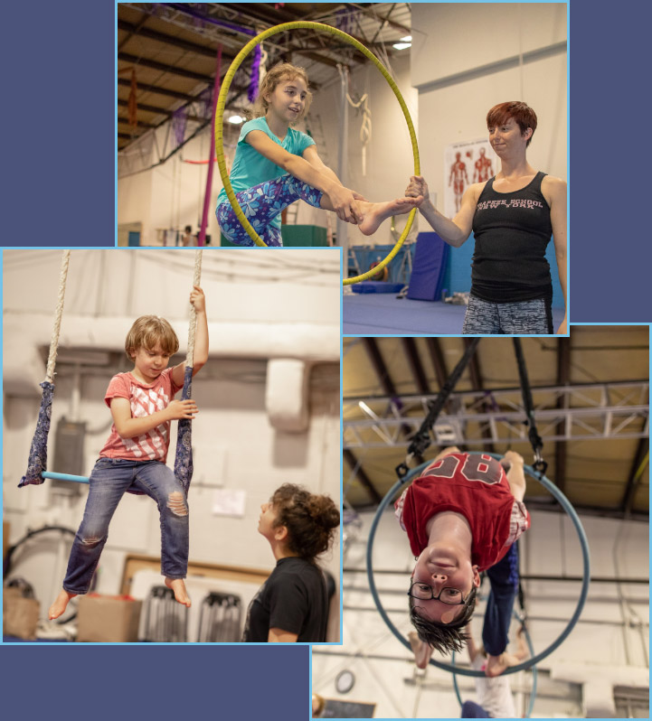 children playing and training on aerial hoop and trapeze