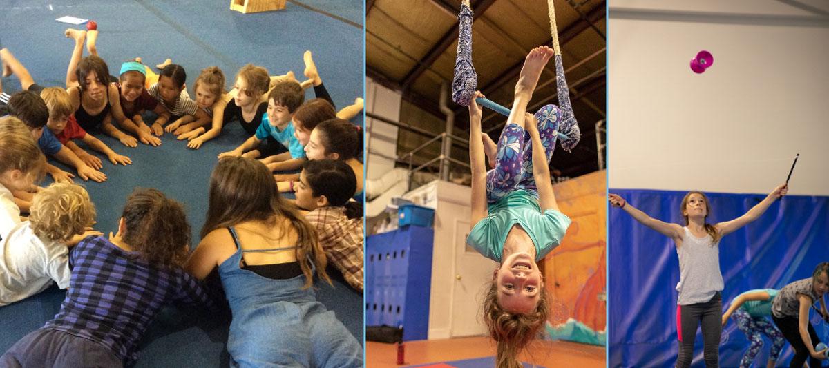 youth participating in circus activities at esh circus arts summer program