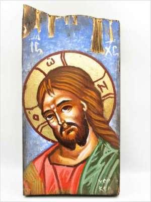 Χειροποίητη αγιογραφία Χριστός ζωγραφισμένη στο χέρι, βυζαντινή. Διαστάσεις 0,30εκ Χ 0,14εκ