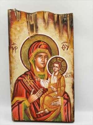 Χειροποίητη Αγιογραφία Παναγιά Βρεφοκρατούσα ζωγραφισμένη στο χέρι, βυζαντινή. Διαστάσεις 0,25εκ Χ 0,14εκ