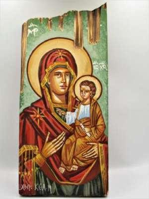 Χειροποίητη Αγιογραφία Παναγιά Βρεφοκρατούσα ζωγραφισμένη στο χέρι, βυζαντινή. Διαστάσεις 0,32εκ Χ 0,14εκ