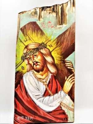 Χειροποίητη Αγιογραφία Χριστός ζωγραφισμένη στο χέρι, βυζαντινή. Διαστάσεις 0,24εκ Χ 0,16εκ