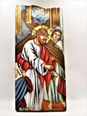 Χειροποίητη Αγιογραφία Προς το Γολγοθά ζωγραφισμένη στο χέρι Επτανησιακή Σχολή. Διαστάσεις 0,31εκ Χ 0,14εκ