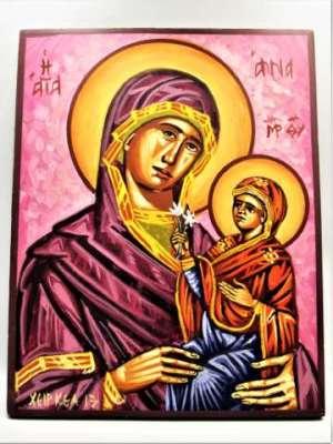 Χειροποίητη Αγιογραφία Αγία Άννα ζωγραφισμένη και σκαμμένη στο χέρι, βυζαντινή. Διαστάσεις 0,28εκ Χ 0,22εκ