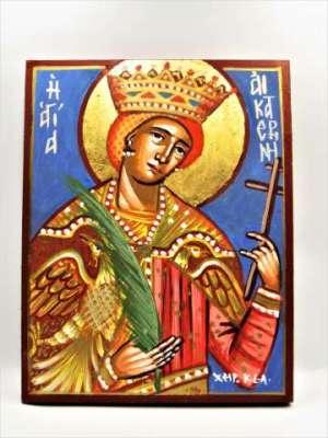 Χειροποίητη Αγιογραφία Αγία Αικατερίνη ζωγραφισμένη στο χέρι, βυζαντινή. Διαστάσεις 0,25εκ Χ 0,20εκ