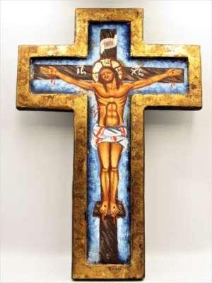Χειροποίητη Αγιογραφία Σταύρωση ζωγραφισμένη στο χέρι και σκαμμένη , βυζαντινή σε σχήμα σταυρού. Διαστάσεις 0,32εκ Χ 0,22εκ