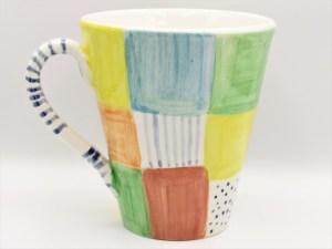 Χειροποίητη Κεραμικη Κονική Κούπα μεγάλη σειρά Patchwork δουλεμένη και ζωγραφισμένη στο χέρι. Διαστάσεις 10εκ Χ 11εκ