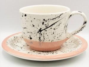Χειροποίητο Κεραμικό Φλιτζάνι Τσαγιού με πιάτο σειρά Ink Coral δουλεμένο και ζωγραφισμένο στο χέρι.