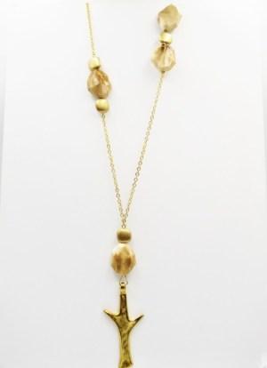 Χειροποίητο Κολιέ μακρύ αλυσίδα με χρυσο στοιχείο και καφέ πέτρες.